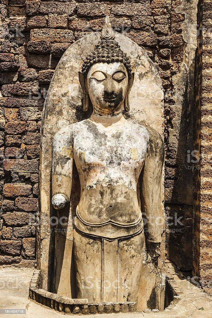 broken buddha at srisatchanalai sukhothai thailand royalty-free stock photo