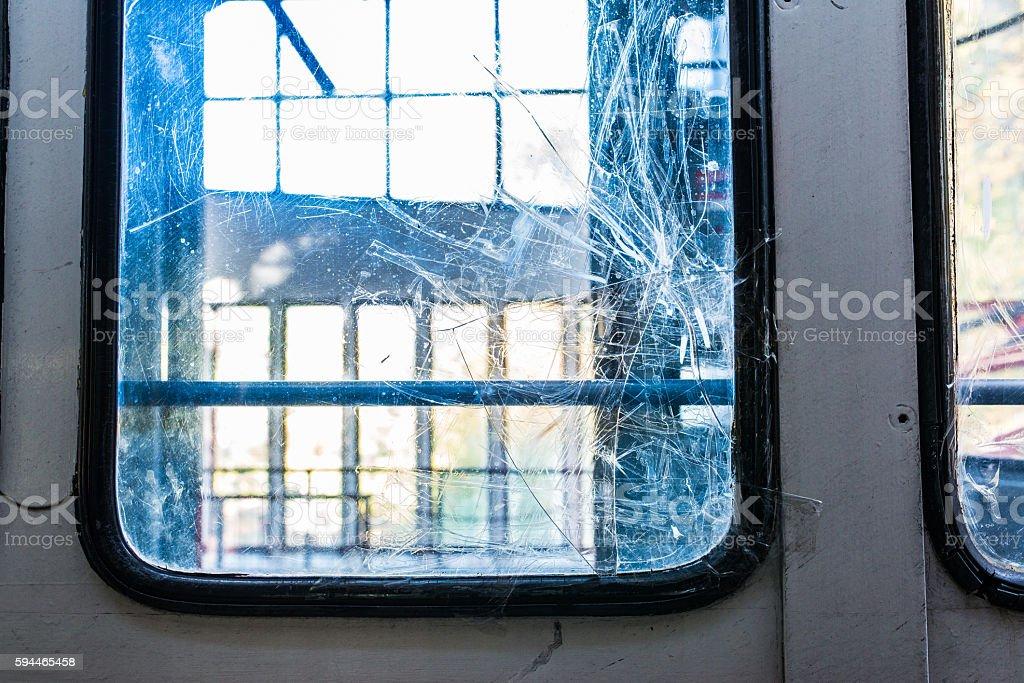 Broken cable car window stock photo