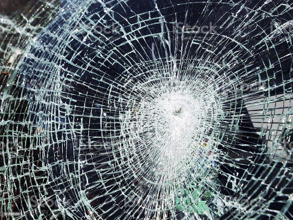 Broken car glass royalty-free stock photo