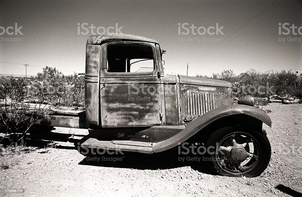 broken car in the west royalty-free stock photo