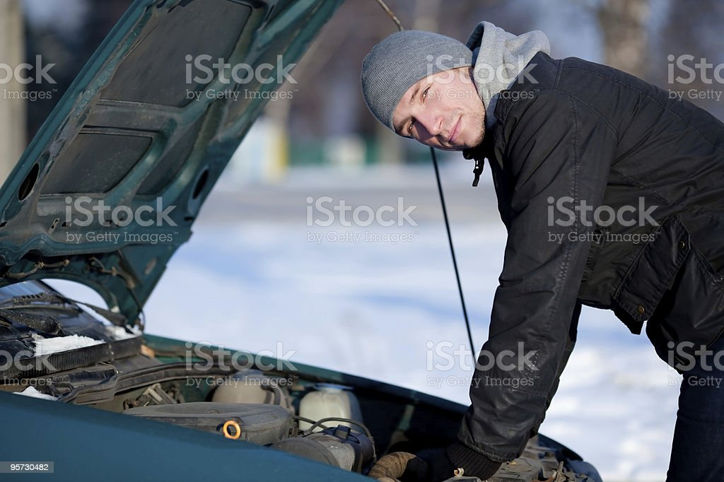 Broken car in winter royalty-free stock photo