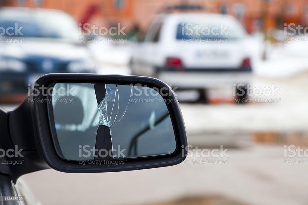 Broken car mirror stock photo