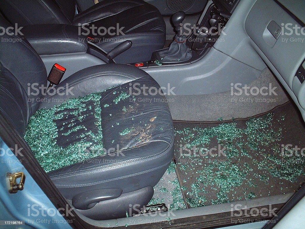 Broken car window royalty-free stock photo