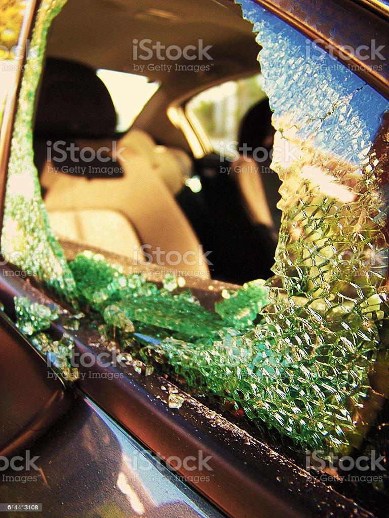 Broken Car window stock photo