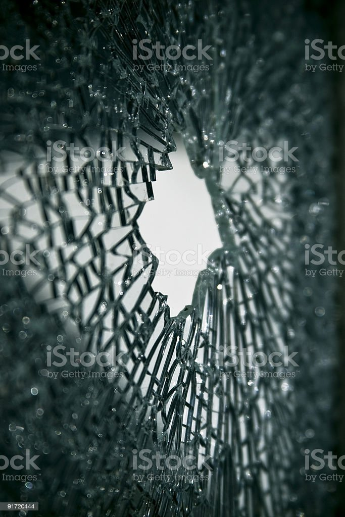 Broken car window royalty-free stock photo