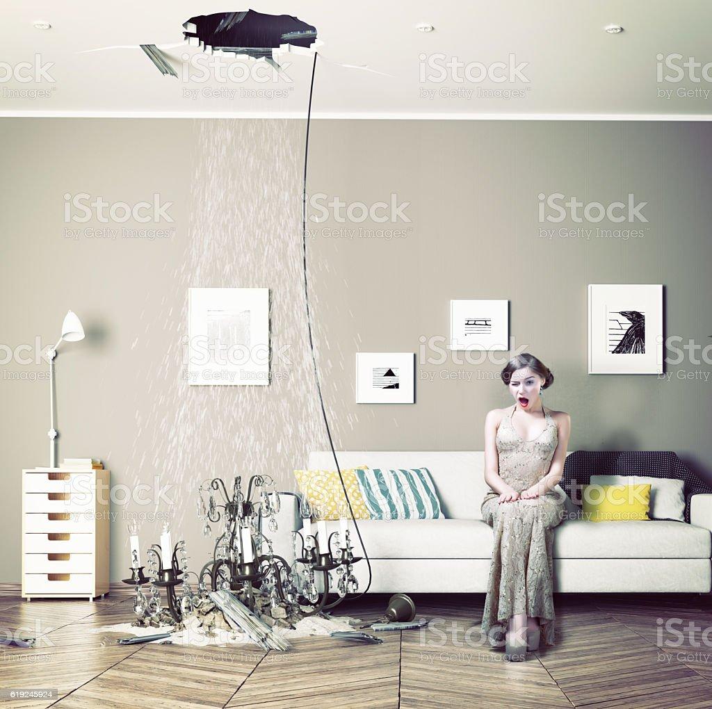 broken ceiling in the room stock photo