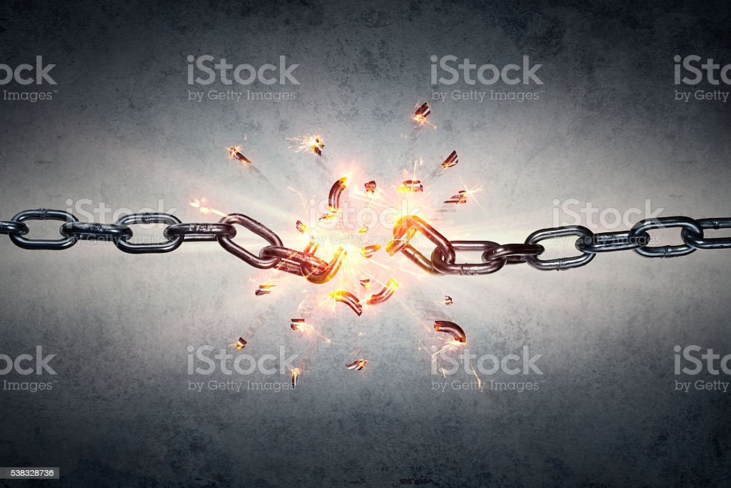 Broken Chain - Freedom Concept stock photo