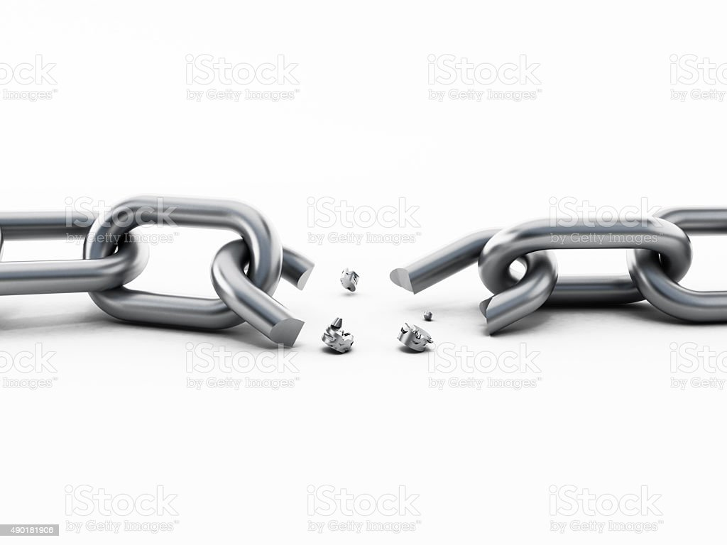 Broken chain stock photo
