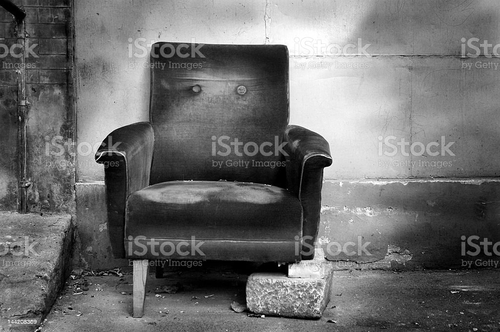 Broken chair b/w stock photo