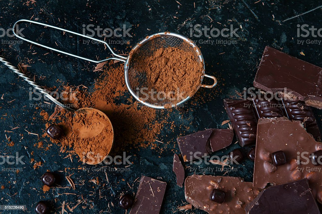 Broken chocolate bar stock photo