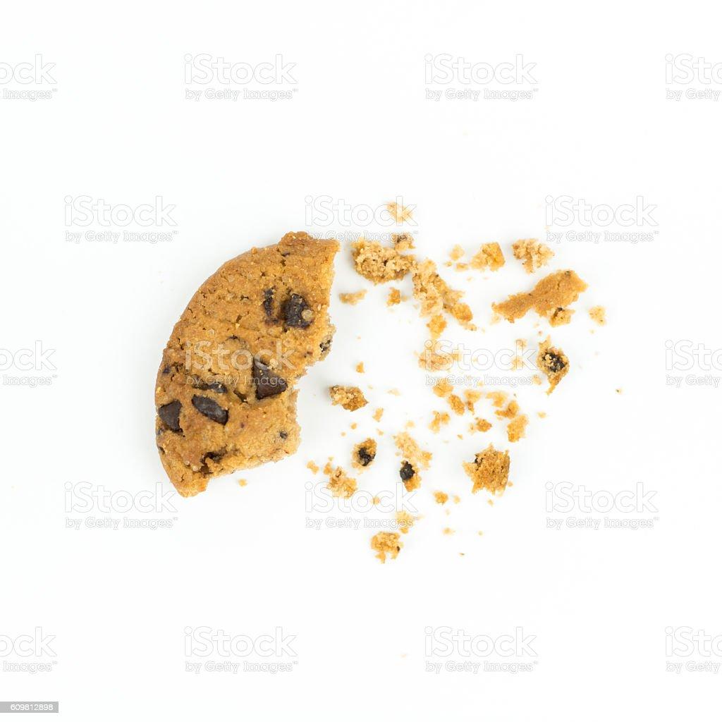 broken Chocolate chip cookie on white stock photo
