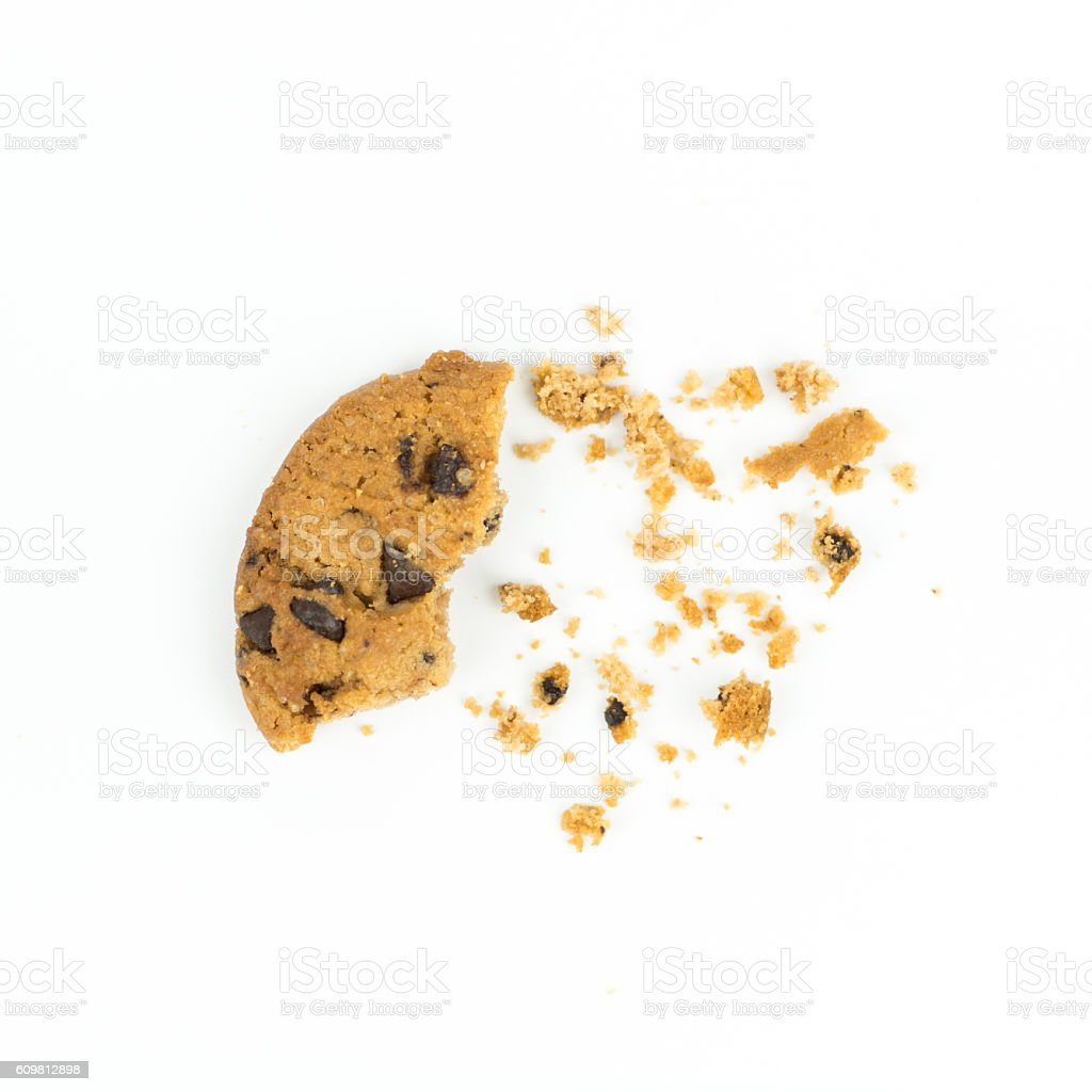 broken Chocolate chip cookie on white stock photo