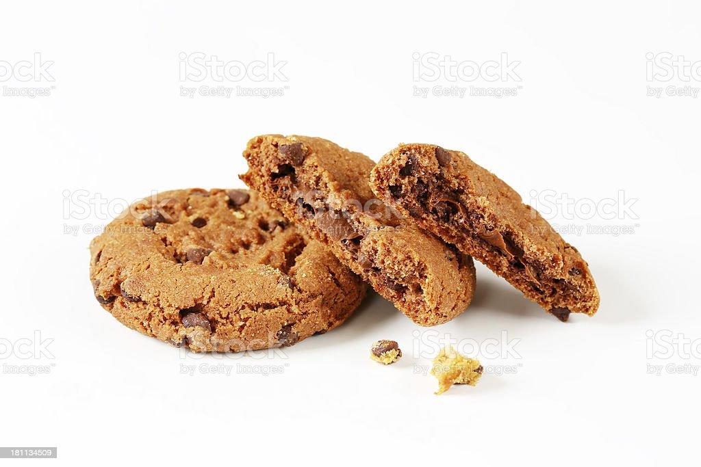 broken chocolate chip cookies royalty-free stock photo