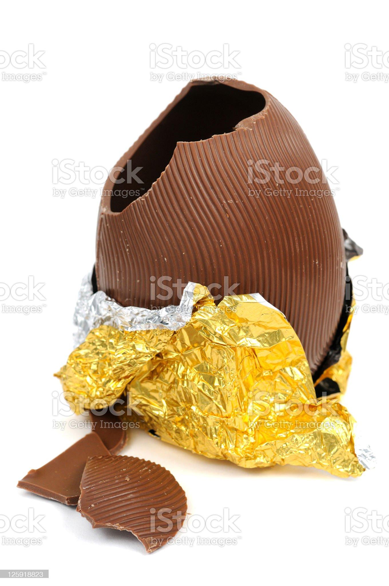 Broken Chocolate Easter Egg royalty-free stock photo