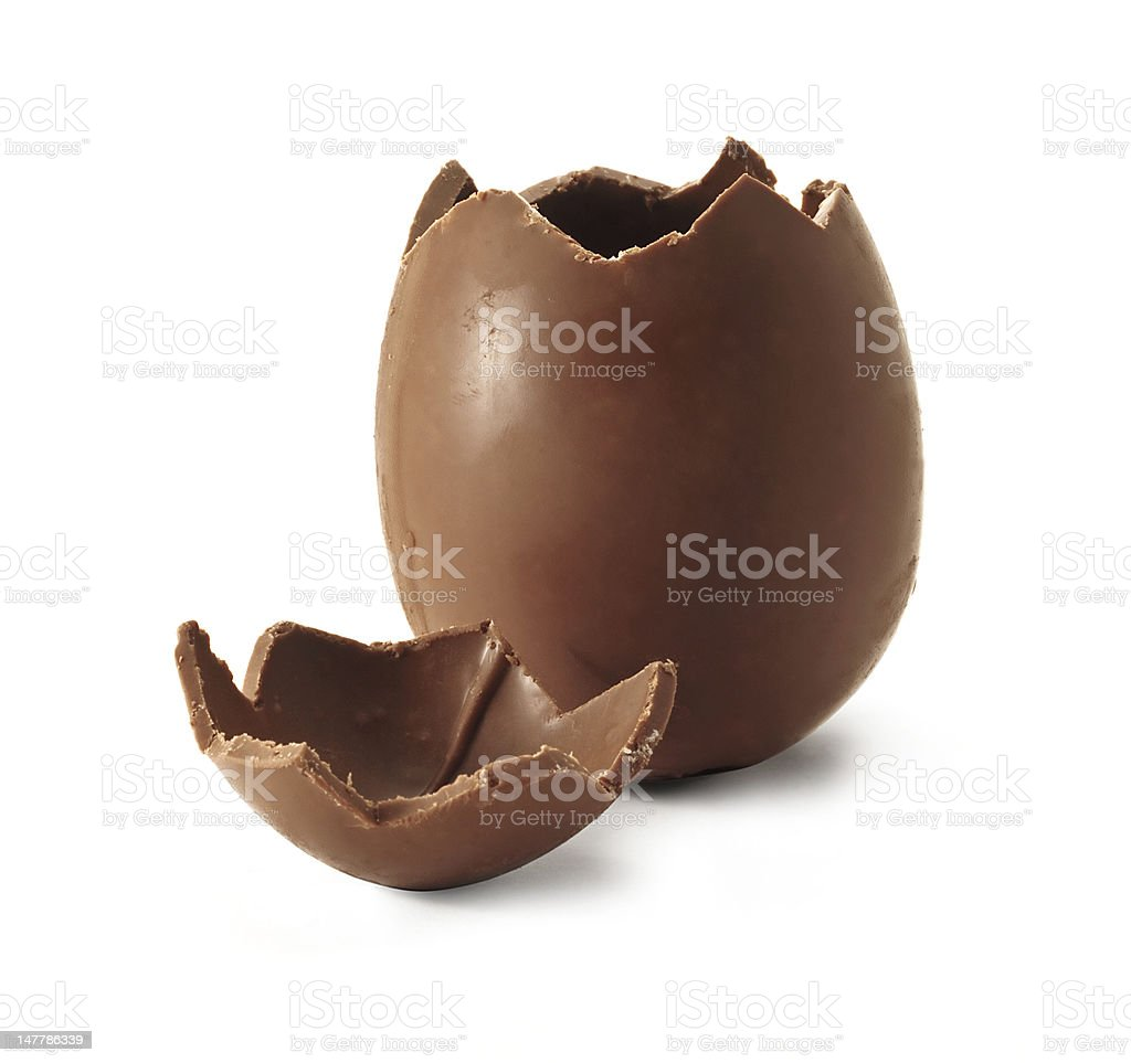 Broken Chocolate Easter egg stock photo