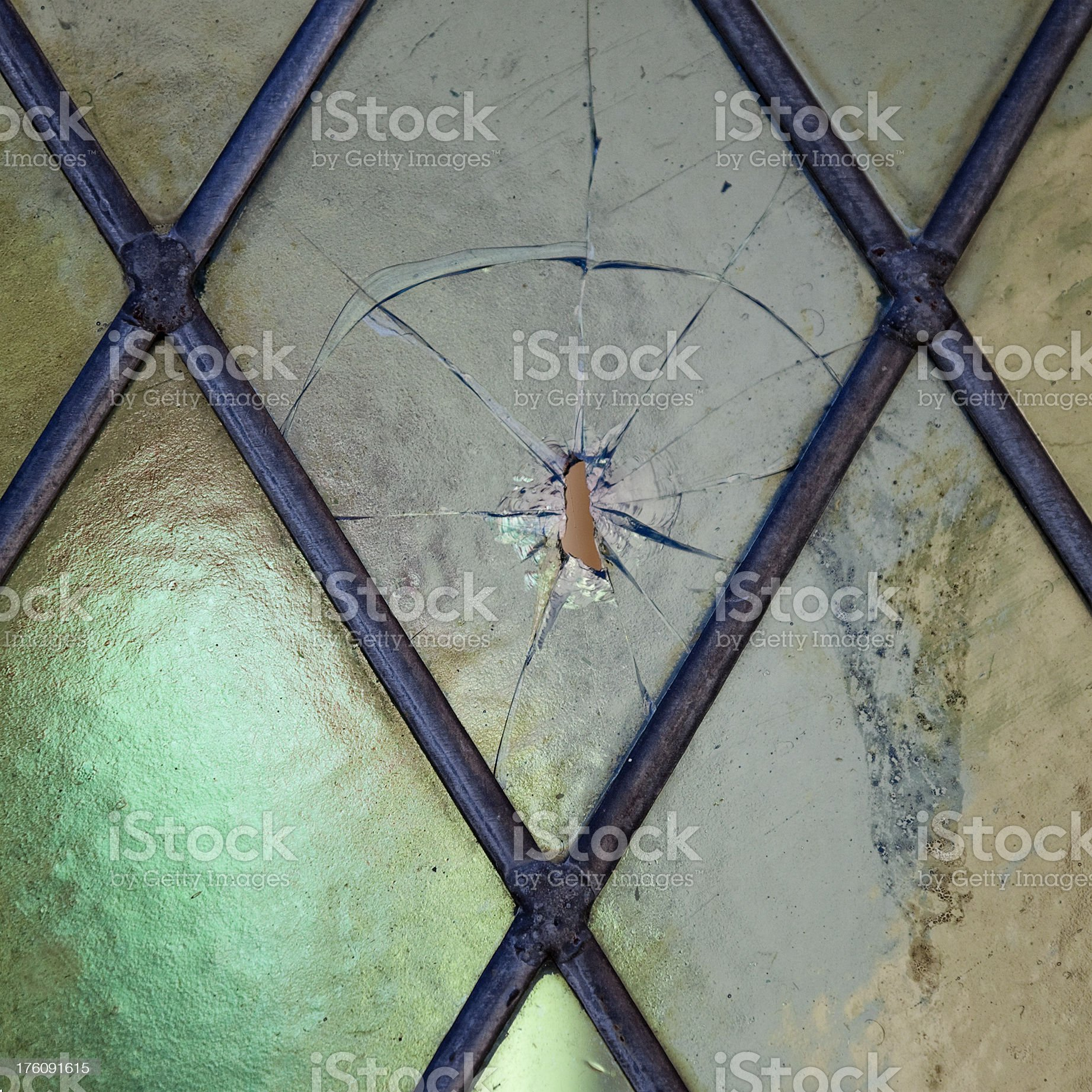 Broken church window royalty-free stock photo