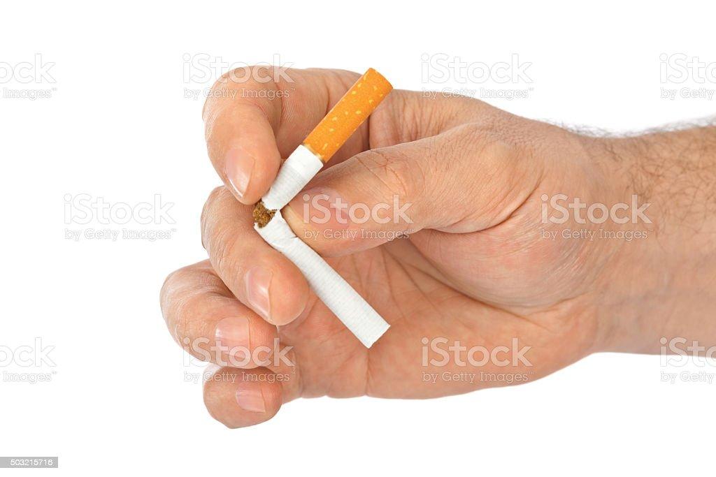 Broken cigarette in hand stock photo