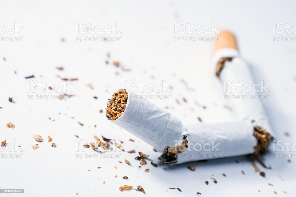Broken Cigarette With Tobacco Pieces In White Box stock photo