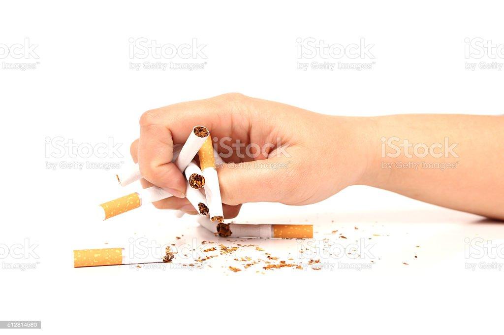 Broken cigarettes stock photo