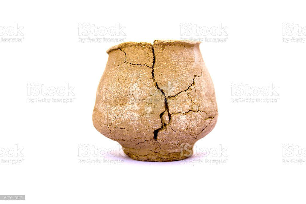 Broken clay pot isolated on white background stock photo