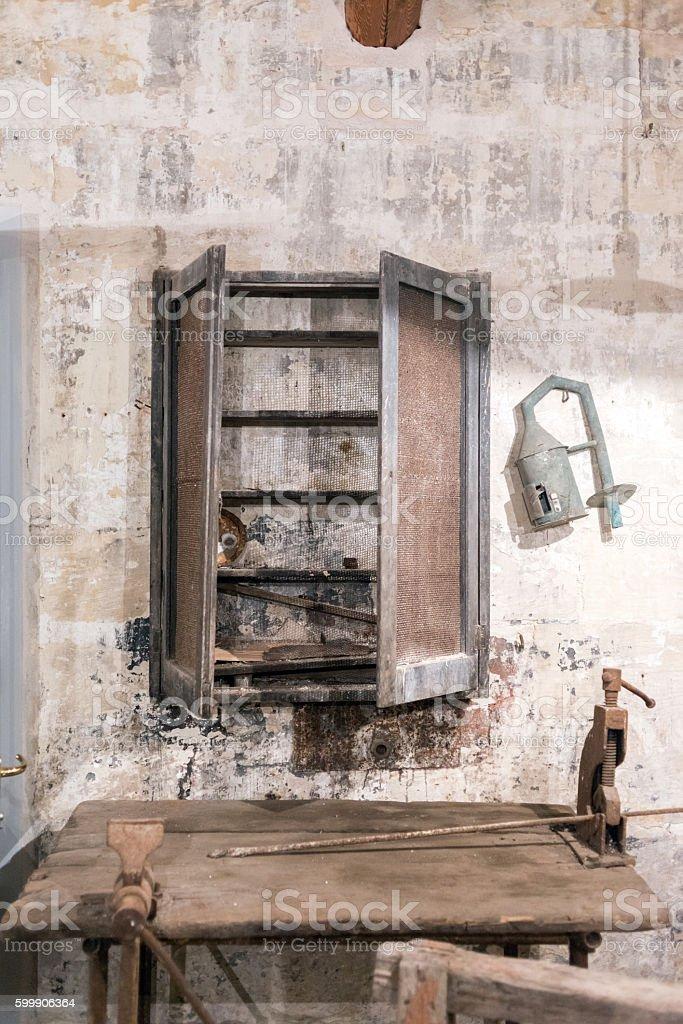 Broken closet in abandoned factory stock photo