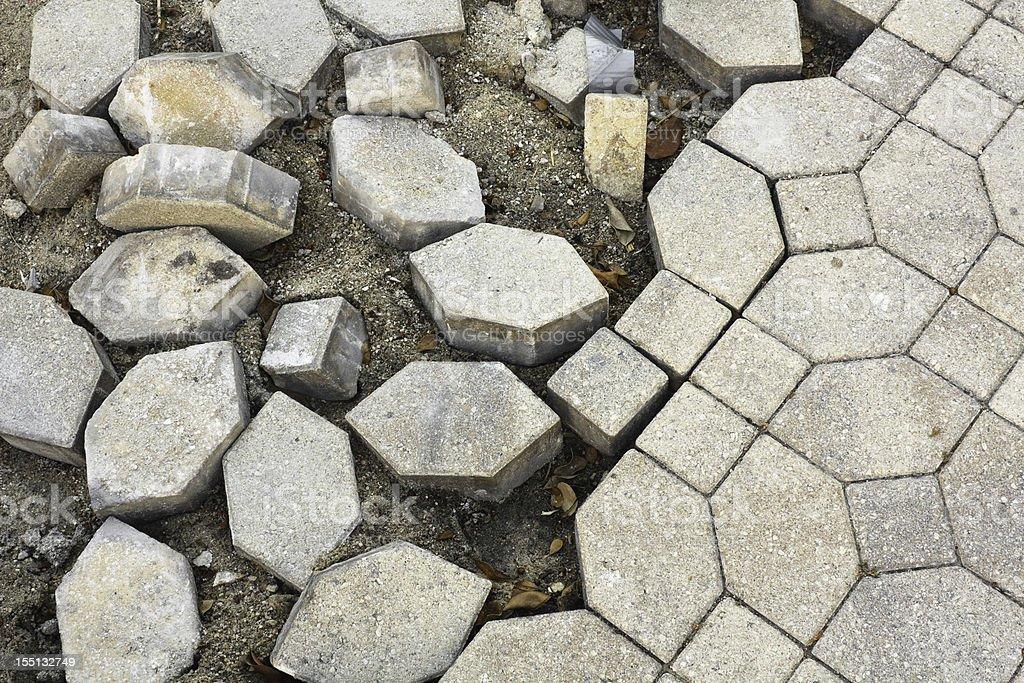 Broken Cobblestone Pavement stock photo