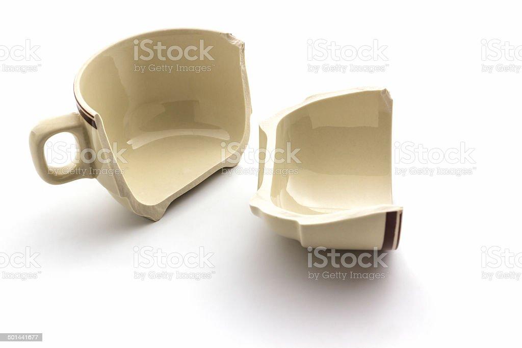 Broken coffee cups. stock photo