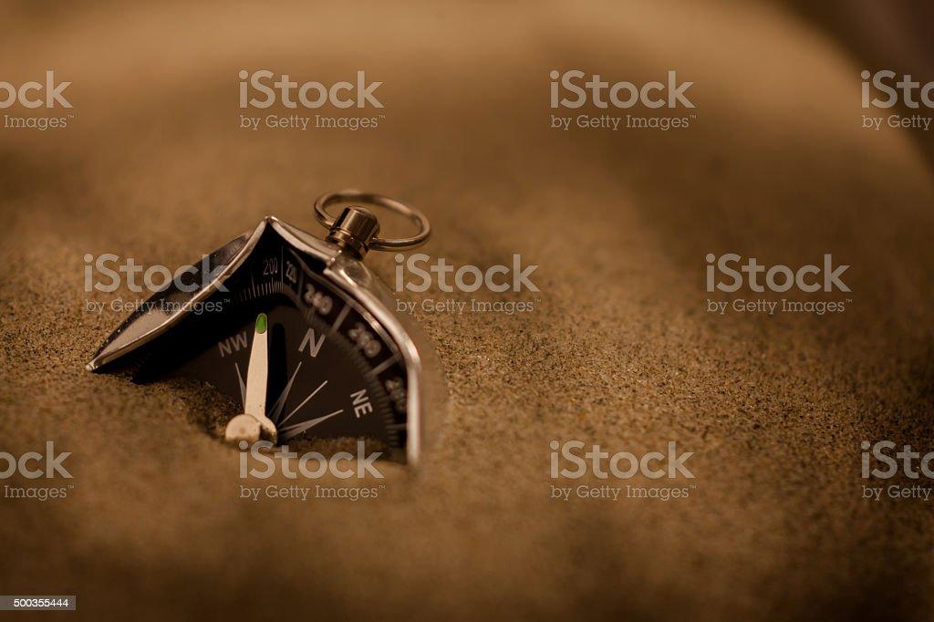 Broken compass. Concept image. stock photo
