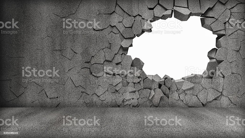 Broken Concrete Wall isolated on black background stock photo