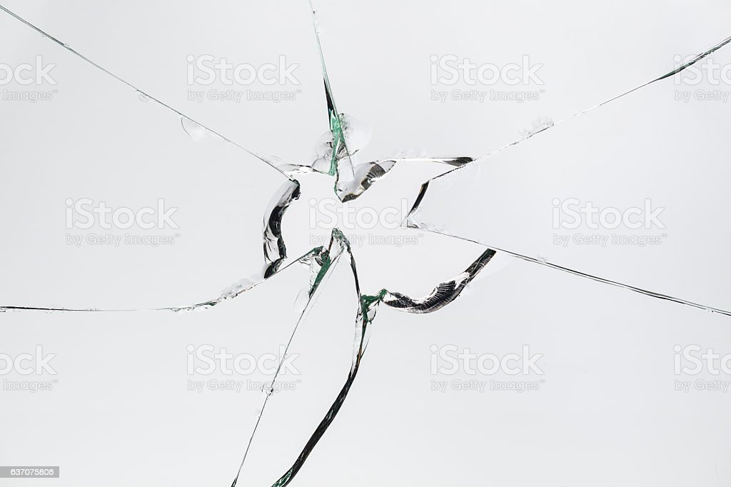 Broken Cracked Glass on Grey/White Background stock photo