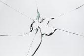 Broken Cracked Glass on Grey/White Background