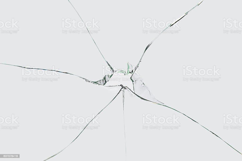 Broken Cracked Glass on Grey/White Background stock photo