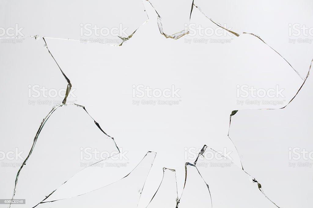 Broken Cracked Glass on Grey/White stock photo