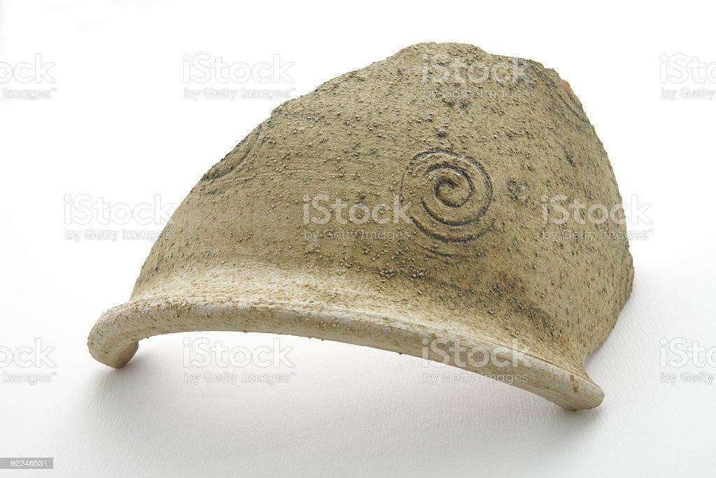 Broken crock, potsherd,ceramic plant holder stock photo