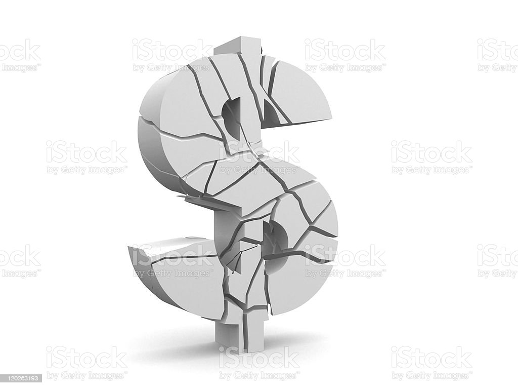 broken dollar stock photo
