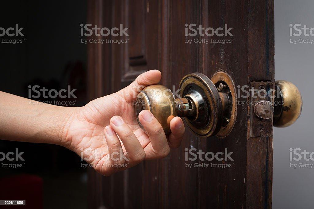 broken door knob stock photo