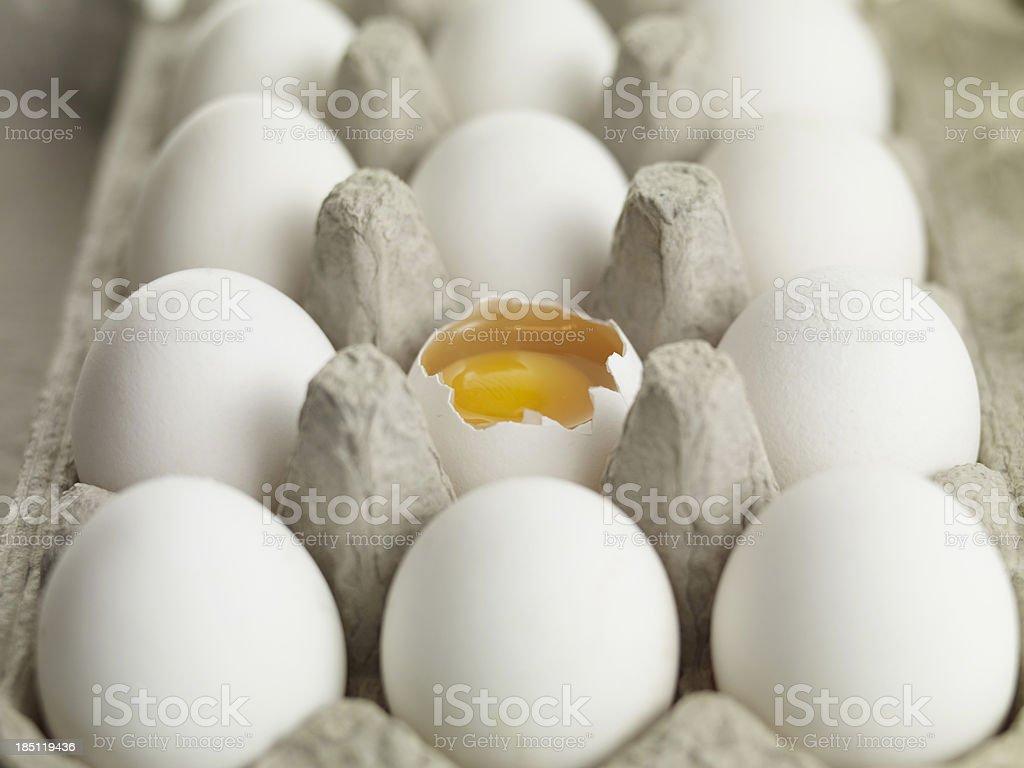 Broken Egg in Carton royalty-free stock photo