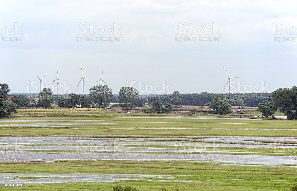 Broken Elbe River dyke at Fischbeck of great flood 2013 stock photo