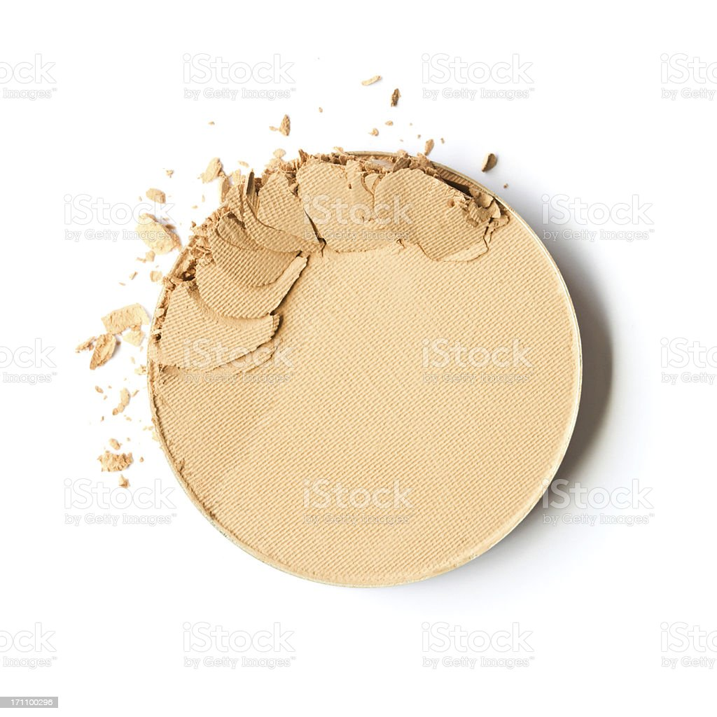 Broken face powder on white background stock photo