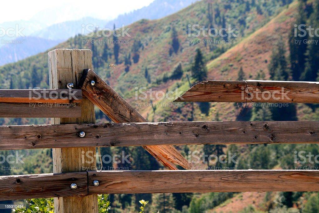 Broken Fence at Mountain Top stock photo