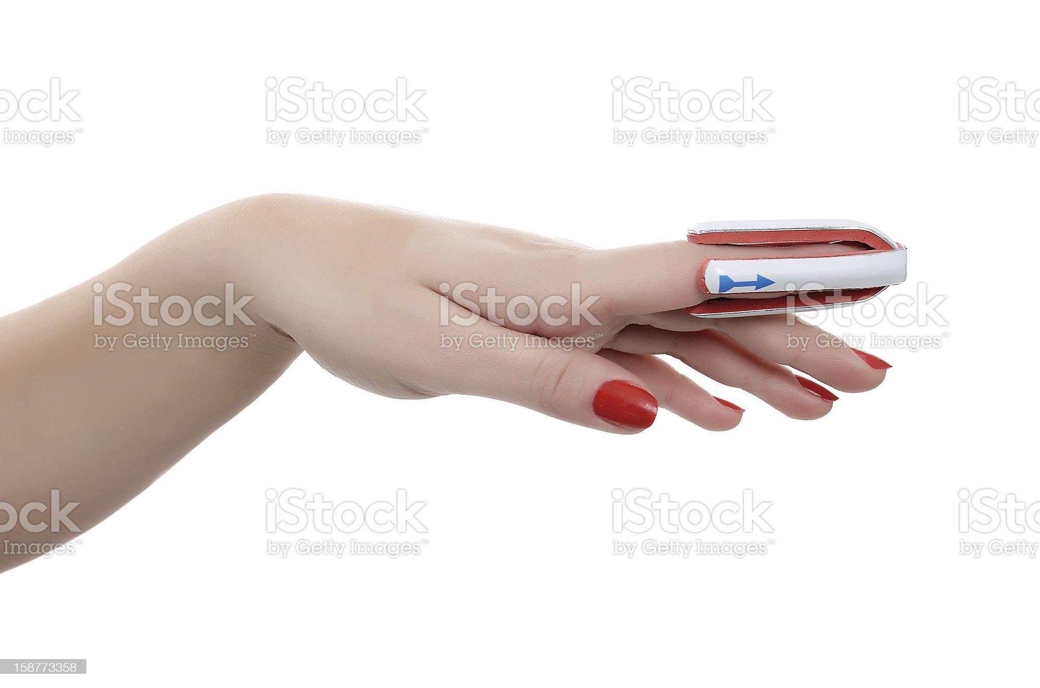 broken finger in a splint royalty-free stock photo