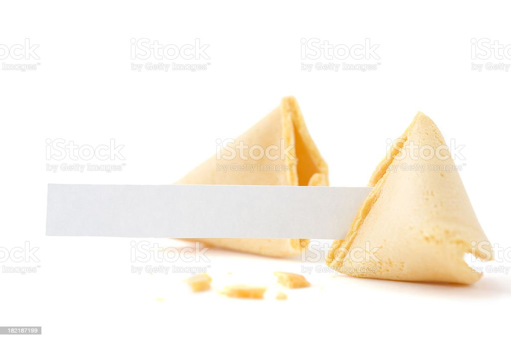 Broken Fortune Cookie with Blank Paper stock photo
