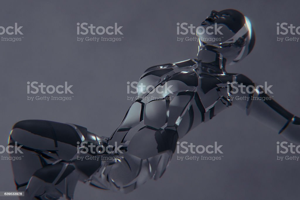 Broken futuristic female cyborg unit stock photo