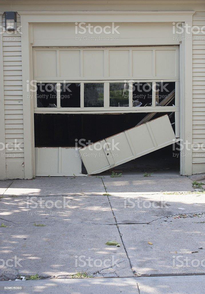 Broken Garage Door stock photo