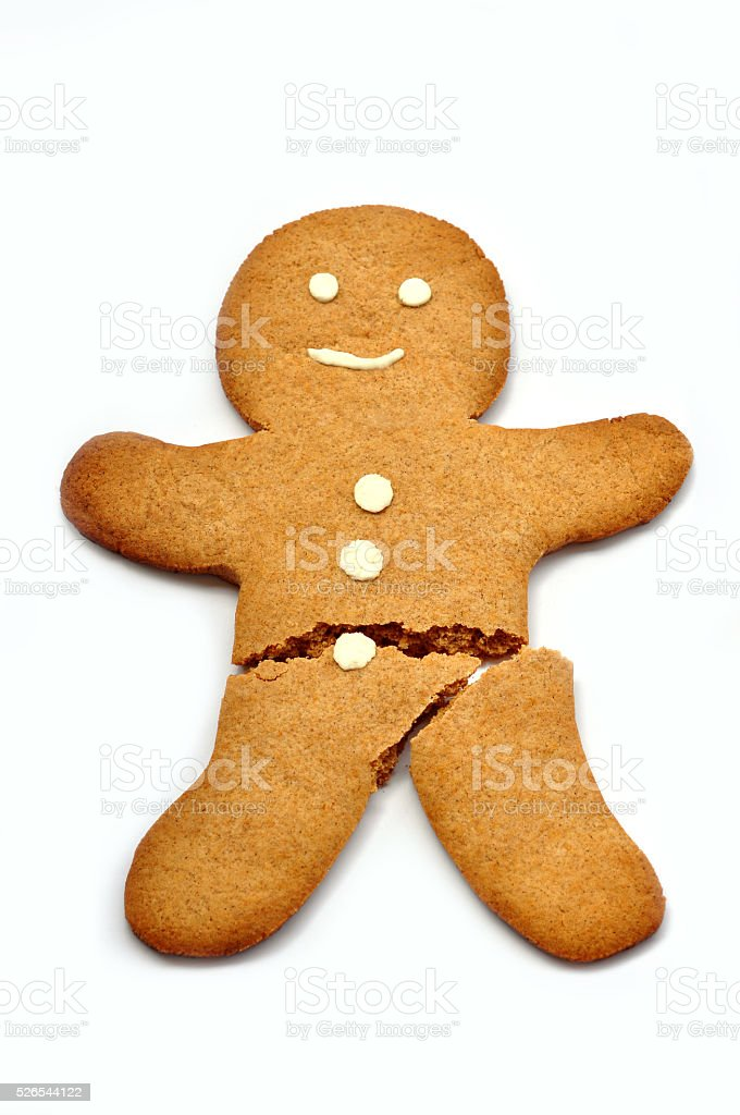 Broken Gingerbread Man stock photo