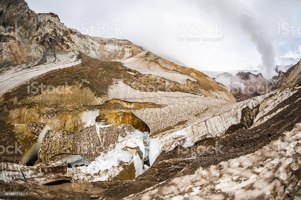 Broken Glacier in Caldera Volcano stock photo