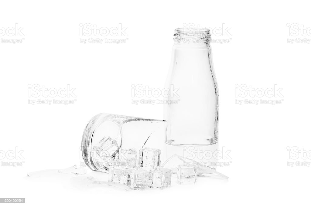 broken glass and ice isolated on white stock photo