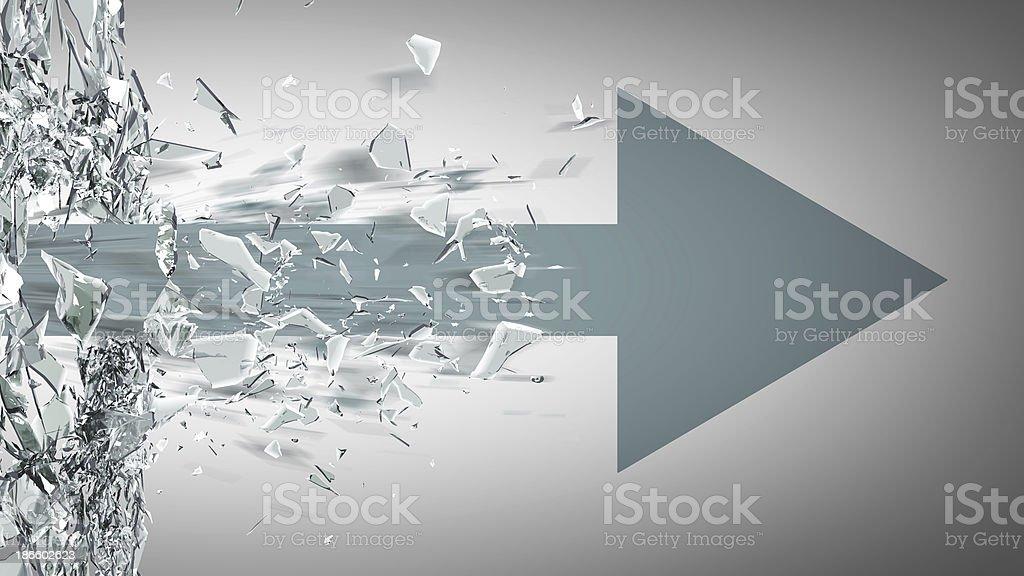 ARROW broken glass background stock photo