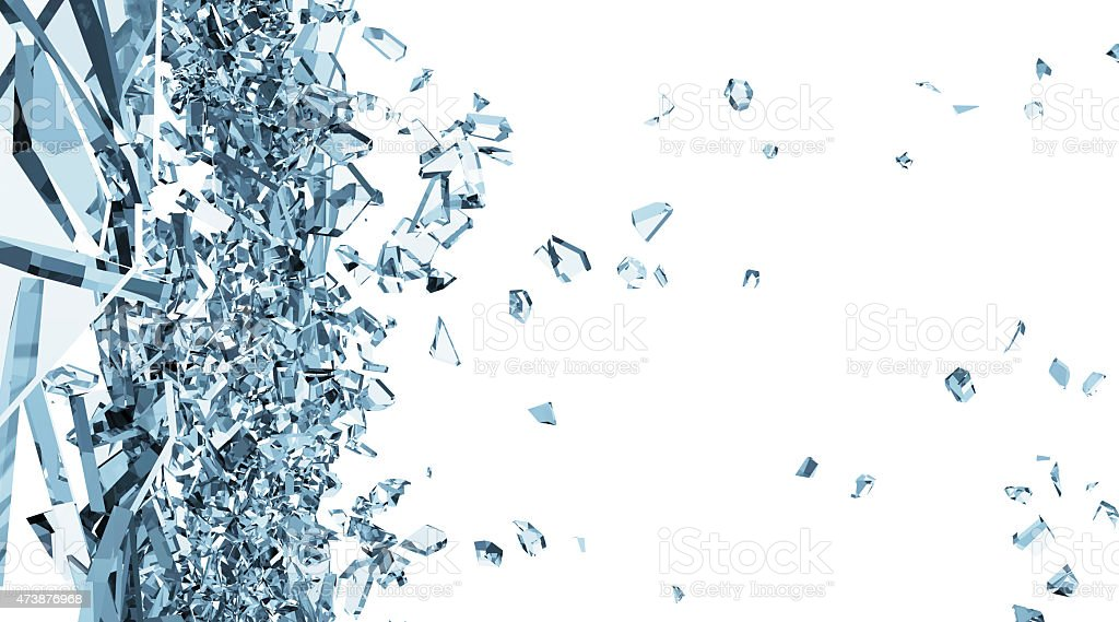 Broken Glass into Pieces isolated on white background vector art illustration