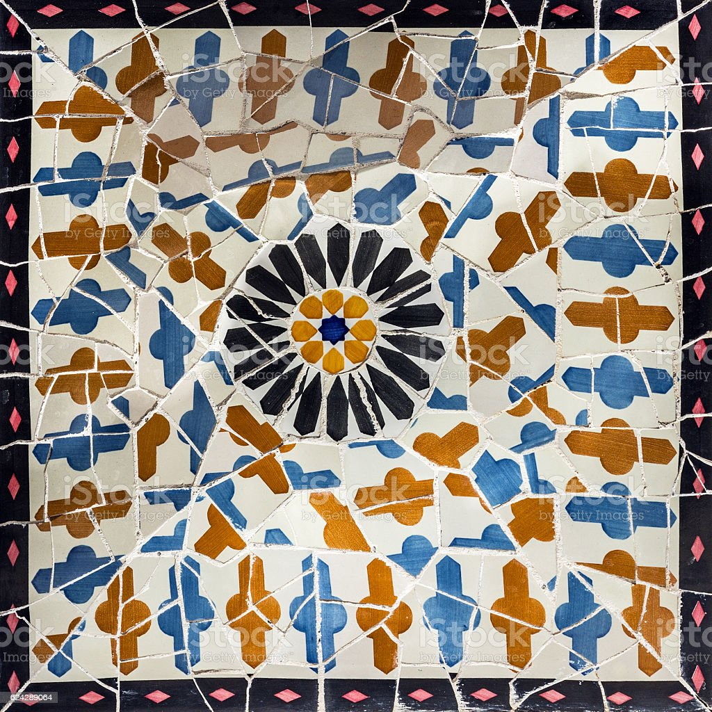 Broken glass mosaic tile, decoration in Park Guell, Barcelona stock photo